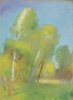Lesser Ury, Birch Forest in Spring, c.1890s, pastel on cardboard