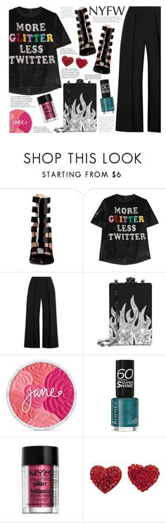 """""""Making Statements"""" by kikoonlala ❤ liked on Polyvore featuring Ruthie Davis, Ashish, rag & bone, Edie Parker, Rimmel, NYX, StreetStyle, NYFW, outfit and chic"""