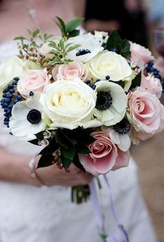 white black anemones and pale pink roses wedding flower bouquet, bridal bouquet, wedding flowers, add pic source on comment and we will update it. www.myfloweraffair.com can create this beautiful wedding flower look.