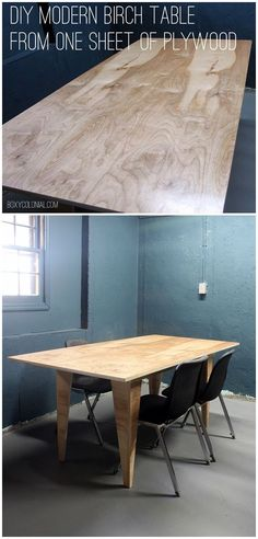 How to make this diy modern birch table from just one sheet of plywood. Great beginner woodworking project!