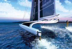 The world's fastest sailboat - the l'Hydroptère is part boat and part plane - Max Length: 100 feet, Mast height: 130 feet, Span: 90 feet Weight: 20 tons, Crew size: 10, Top Speed: 50 knots (nearly 58 mph) (via Popular Science).
