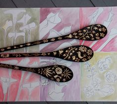 This set will take about 4 1/2 weeks to complete....  I send weekly progress notes for custom orders, usually on Sundays.  This listing is for a set of three custom wooden spoons. The set you receive will be a very close twin to the pictured one above, but not an exact duplicate. **************************** Your spoons will measure 12, 10 and 8 inches long. Every inch of these three sturdy wooden spoons has been burned with a flower-bird-leaf design, which has been drawn directly onto the…