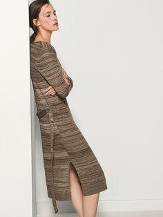 PINSTRIPE DRESS WITH BELT