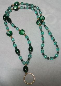Hear and glass bead id badge necklace lanyard