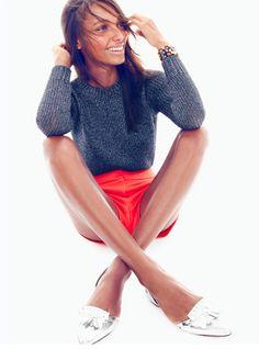 sparkle sweater + bright shorts + metallic flats