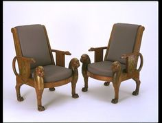 The Denon Chair    Object:  Armchair    Place of origin:  Paris, France (made)    Date:  1803-1813 (made)    Artist/Maker:  Jacob-Desmalter (maker)    Materials and Techniques:  Mahogany, with ormolu (gilt-bronze) mounts; modern upholstery