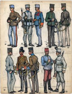 "25. Sergeant, Artillery; 26. Infantry Private; 27. Sergeant, German Infantry Regiment No. 27; 28. Official, 3rd Class, Military Geographcal Institute; 29. Officer, German Landwehrschützen; 30. Second Lieutenant, Jäger Regiment No. 4; 31. Second Lieutenant, Horse Artillery; 32. Officer, Train; 33. Trooper, 9th Dragoons; 34. Einjahriger, Jäger Regiment No. 4. Extract from: AE Haswell Miller & John Mollo. ""Vanished Armies."" Military Art, Military History, German Uniforms, Military Uniforms, Austrian Empire, Austro Hungarian, Napoleonic Wars, World War I, Wwi"
