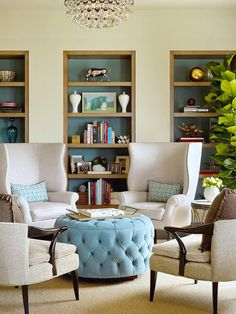 TIMELESSLY TUFTED OTTOMANS: traditional #style living room seating with upholstered #furniture