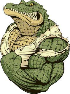 Illustration of Vector illustration, a ferocious alligator bodybuilder athlete posing, showing large biceps vector art, clipart and stock vectors. Arte Furry, Furry Art, Crocodile Illustration, Illustration Art, Vector Illustrations, Cartoon Kunst, Cartoon Art, Krokodil Tattoo, Graffiti Art