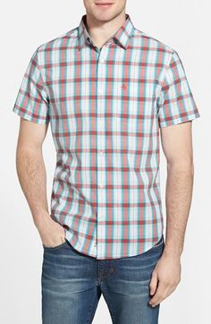 Men's Original Penguin 'P55' Heritage Slim Fit Short Sleeve Plaid Woven Shirt