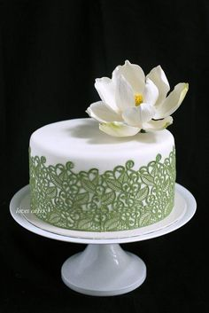 White and Sage Lace lotus cake ~ sugar Lotus and lace Elegant Birthday Cakes, New Birthday Cake, Elegant Cakes, Beautiful Wedding Cakes, Gorgeous Cakes, Pretty Cakes, Fondant Cakes, Cupcake Cakes, Lotus Cake