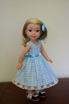 """""""Pic Nic Time"""" Dress, Outfit, Clothes for 14.5"""" American Girl Wellie Wishers"""