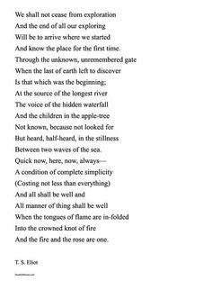 et and elliot relationship poems