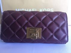 MICHAEL KORS WOMEN LEATHER WALLET MERLOT QUILTED LARGE CARRYALL BURGUNDY CLUTCH #MichaelKors #Clutch