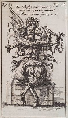 """(Amsterdam, 1712): """"An evil spirit from an early travel guide to the Island of Formosa and its [occasionally multicephalic hybrid] inhabitants."""""""
