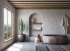 Les matériaux bruts et les revêtements naturels apportent une atmosphère relaxante à une salle de bain. Tadelakt, pierre, bois, tissus : laissez-vous émerveiller par la multitude de choix disponible. Tadelakt, Bathtub, Bathroom, Budget, Large Tub, Spa Bathrooms, Quirky Bathroom, Cement Render, Morocco