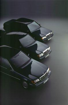 Mercedes-Benz 80s/early 90s sedan range. L-R: W140 S-class (1991), W124 200/300-class (1984), W201 190-class (1982).