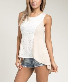 Look at this Taupe & White Eyelet-Panel Hi-Low Top on #zulily today!