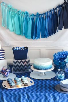 Blue Ombre Birthday Party DIY Details by HouseofRoseBlog.com