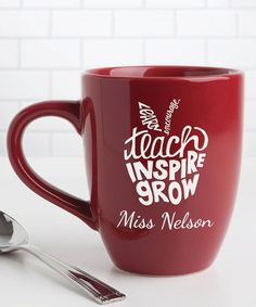 Take a look at this 'Teach Inspire Grow' Personalized Bistro Mug today!