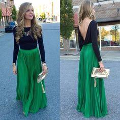 Pretty Green Pleated Skirt Zipper Waist A Line Floor Length Maxi Skirt Long Chiffon Skirt