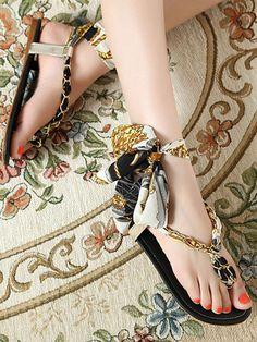 Black, Floral Print, Lace Up, Gladiator Thong, Flat Sandals
