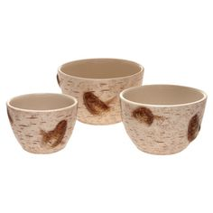 Add a natural touch to your tablescape with this charming prep bowl set, showcasing a birch bark-inspired texture for organic appeal.  ...