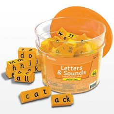 Letters and sounds reading rods to encourage children to blend letters and experiment with sounds to form CV and CVC words. 96 interlocking cubes. Ideal for phonics teaching.
