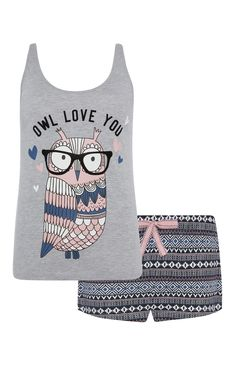 Primark - Grey Owl Love You PJ Short Set - Lingerie, Sleepwear & Loungewear - http://amzn.to/2ieOApL