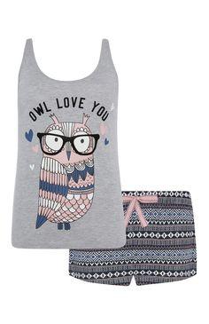 Primark - Grey Owl Love You PJ Short Set Lingerie, Sleepwear & Loungewear - http://amzn.to/2ij6tqw