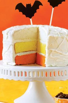 This festive candy corn-colored cake is sure to impress your Halloween guests.#halloween #halloweenrecipes #myrecipes My Recipes, Cooking Recipes, Candy Corn, Food Recipes, Recipes