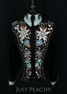 Black and Blue Hand-Painted Jacket by Connie's ~ Ladies XS