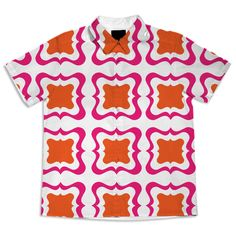Hot Pink Orange Bold  Bright Trendy Patterned Summer Fashion Blouse from Print All Over Me