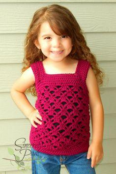 Samantha Tank Child Sizes Crochet Pattern pdf by BySincerelyPam Crochet Girls, Crochet For Kids, Love Crochet, Knit Crochet, Crochet Toddler Dress, Baby Kind, Summer Tops, Crochet Clothes, Baby Dress