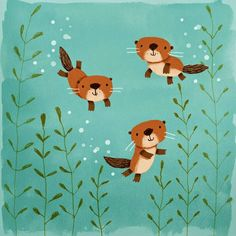 cally jane studio: Happy Otters