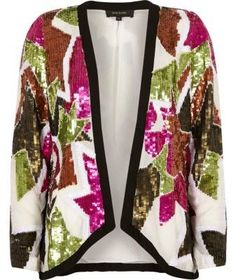 River Island Womens White sequin embellished trophy jacket