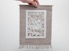 Wanddeko - Handmade Wandbild mit Vogel - ein Designerstück von Weihnachten-und-Ostern-Deko bei DaWanda