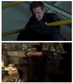 Clint Barton. Actually, body-language implies uncertainty and a need for barriers to keep himself safe or separated from the whole.