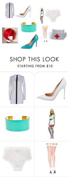 """""""Nikki Terminator's (Rudy Coby's robotic nurse sidekick) outfit"""" by terrence-michael-clay on Polyvore featuring Anthony Vaccarello, Gianvito Rossi, Fornash, For Love & Lemons and Charles by Charles David"""