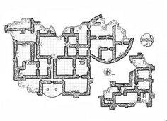Ruined-castle-Floor-2, Floor plan, rpg map, kosmic dungeon
