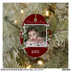Holly and Starfish Baby's First Christmas Ornament Baby First Christmas Ornament, Baby Ornaments, Babies First Christmas, Red Christmas, Christmas Cards, Xmas, Baby Shop, Baby Shower Themes, Crafts For Kids
