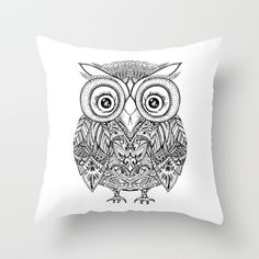 THROW PILLOW, OWL, Hand drawing