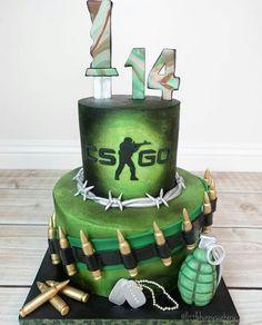 Counter Strike themed cake Fondant from Paintball Cake, Paintball Birthday, Army's Birthday, Cool Birthday Cakes, Bolo Fack, Army Cake, Cake Illustration, Cupcake Cakes, Cake Fondant