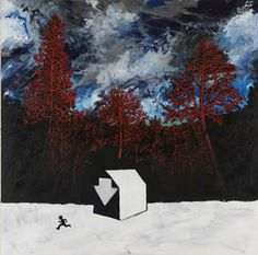 """Another Stanley Donwood that goes unnamed. We'll call it """"Nuke Shelter"""" Radiohead, Mural Painting, Painting & Drawing, Paintings, Stanley Donwood, Messy Art, Spray Paint On Canvas, English Artists, Oeuvre D'art"""