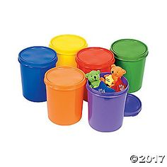 Containers With Lids. These brightly colored containers will be a fun way to keep your preschool or Kindergarten classroom neat and orderly. Perfect for ...