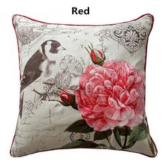 Embroidered bird throw pillow flower cushions for home decoration