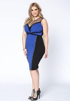 Plus Size Color Block Zipper Bodycon Dress - Debshops.com ♡