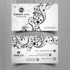Modern business card with floral shapes Free Vector