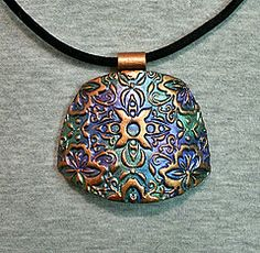 Polymer clay pendant texture copper metallic green blue purple | Flickr - Photo Sharing!