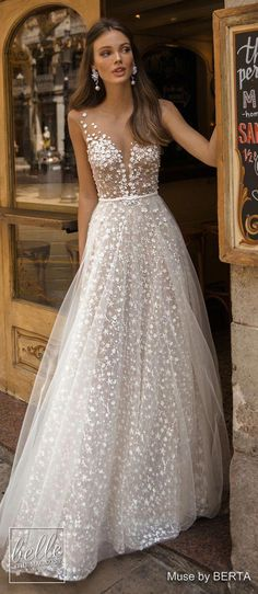 MUSE by Berta Wedding Dresses 2019 - Barcelona Bridal Collection | cap sleeves deep plunging v neck full embellishment romantic a line wedding dress sheer button back sweep train princess ballgown #Weddingbride